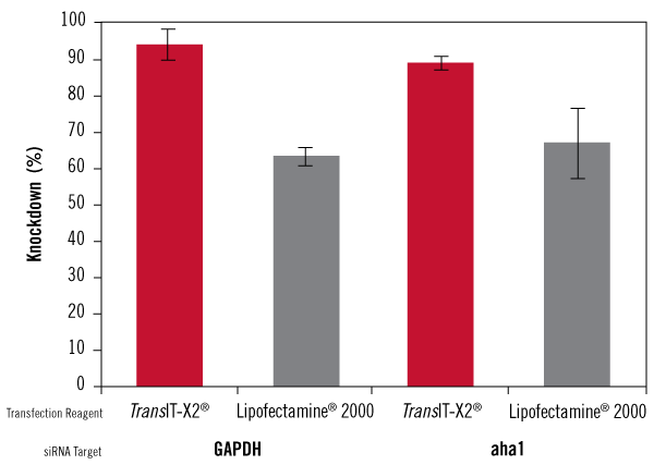 TransIT-X2 Dynamic Delivery System Achieves Higher Knockdown than Lipofectamine 2000